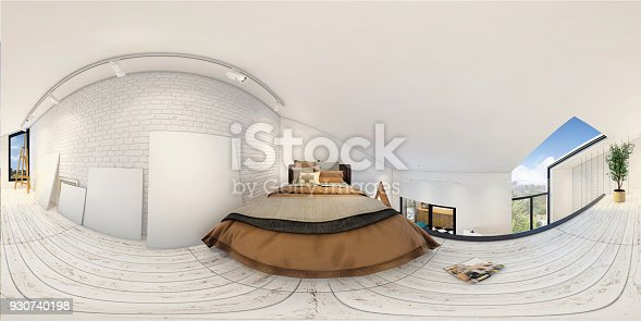 938518926istockphoto Modern studio apartment bedroom 360 equirectangular panoramic interior 930740198
