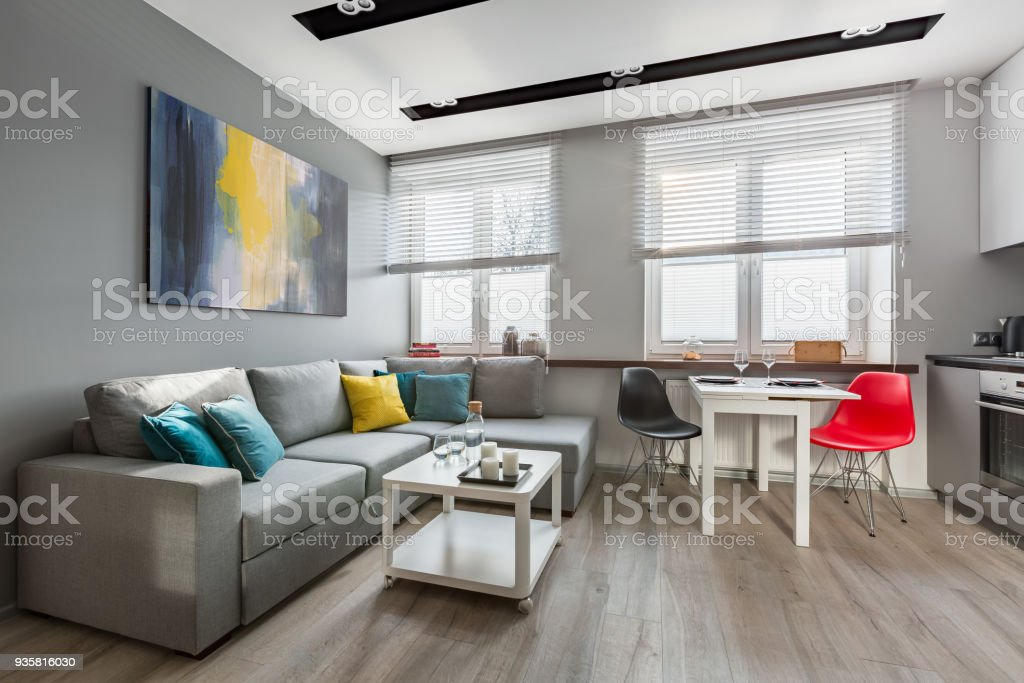 Modern Studio Apartment In Gray Stock Photo & More Pictures of ...
