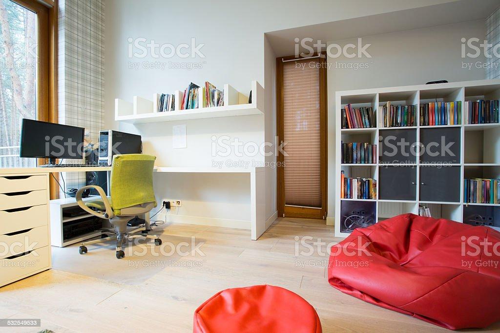 Modern study room stock photo