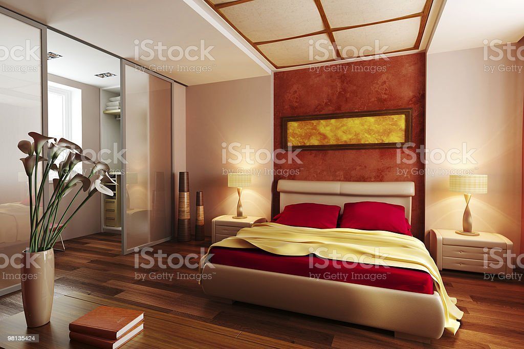 modern style bedroom interior 3d royalty-free stock photo