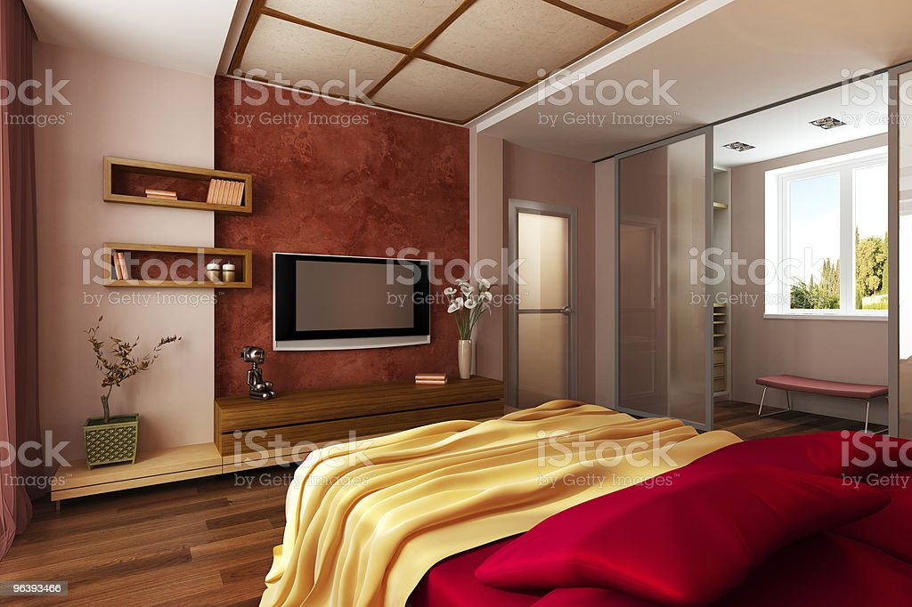 modern style bedroom interior 3d rendering - Royalty-free Apartment Stock Photo