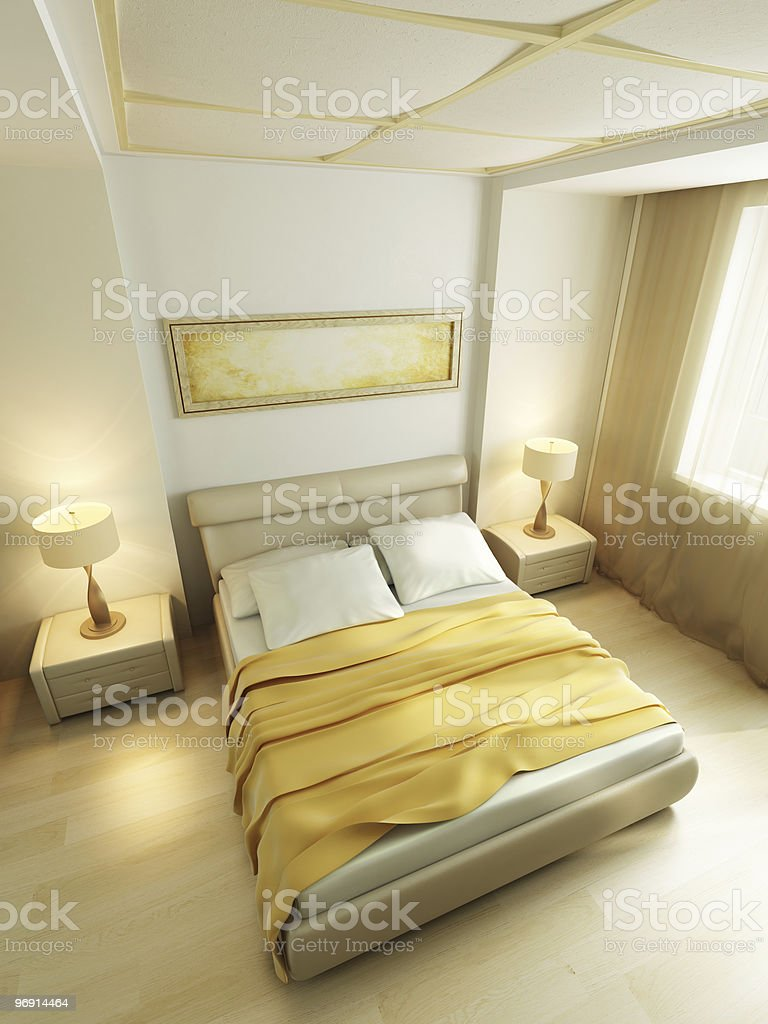 modern style bedroom interior 3d rendering royalty-free stock photo