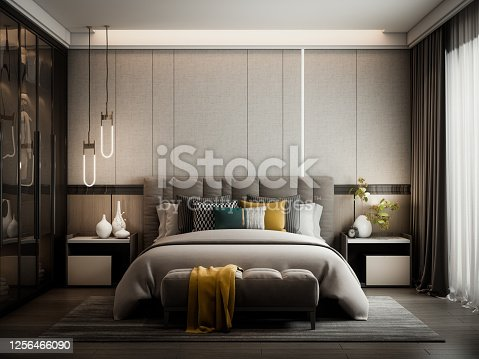 Digitally generated modern style bedroom interior design.  The scene was rendered with photorealistic shaders and lighting in Autodesk® 3ds Max 2020 with V-Ray 5 with some post-production added.