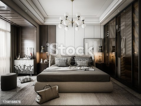 Digitally generated modern style master bedroom interior design.  The scene was rendered with photorealistic shaders and lighting in Autodesk® 3ds Max 2020 with V-Ray 5 with some post-production added.
