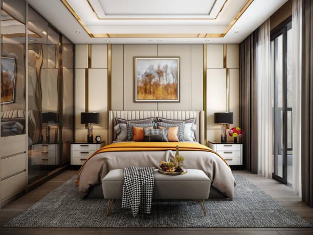 Modern Style Bedroom stock photo
