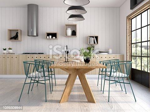 istock Modern style interior design 3D rendering 1059309944