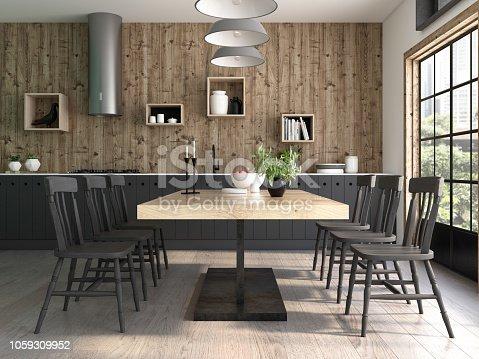 istock Modern style interior design 3D rendering 1059309952