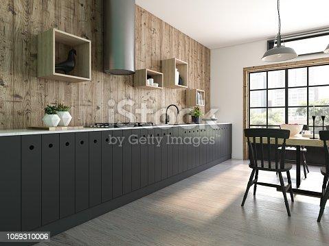 istock Modern style interior design 3D rendering 1059310006