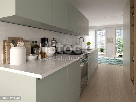 istock Modern style interior design 3D rendering 1076129646