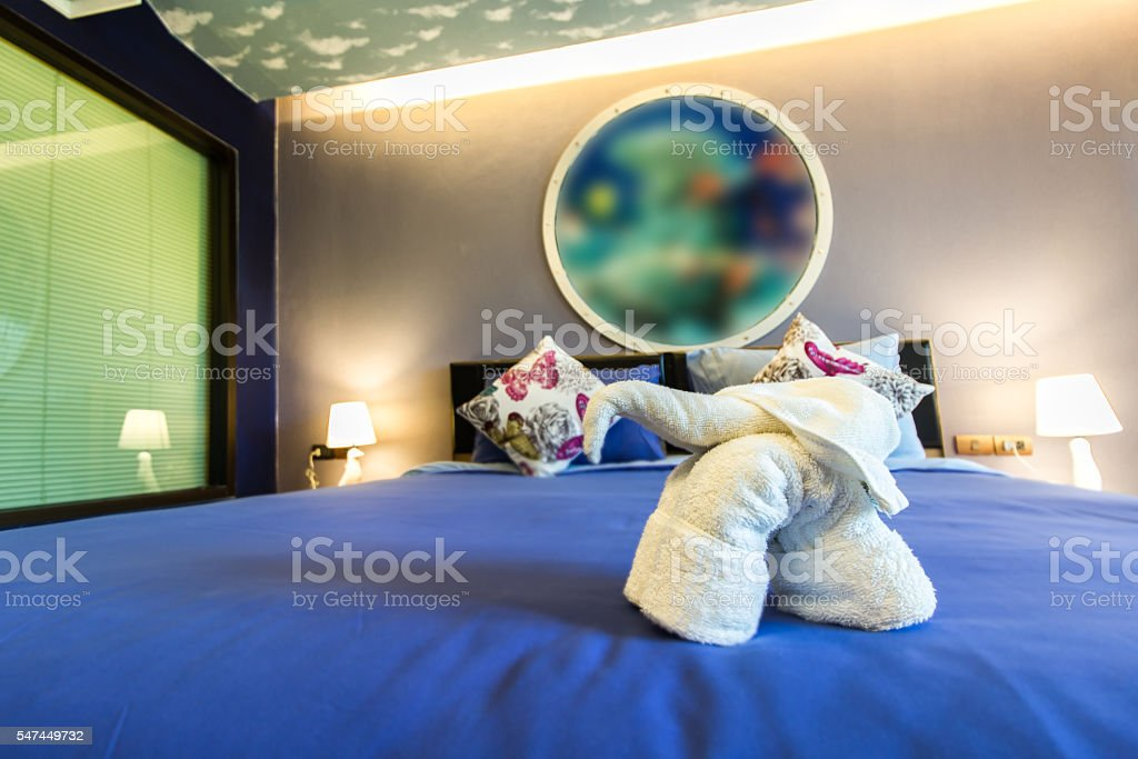 Modern Style Of Bedroom With Folded Towel In Elephant Shape Stock Photo Download Image Now Istock