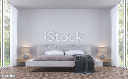 657740026 istock photo Modern styles bedroom with garden view 3d rendering image 848673924