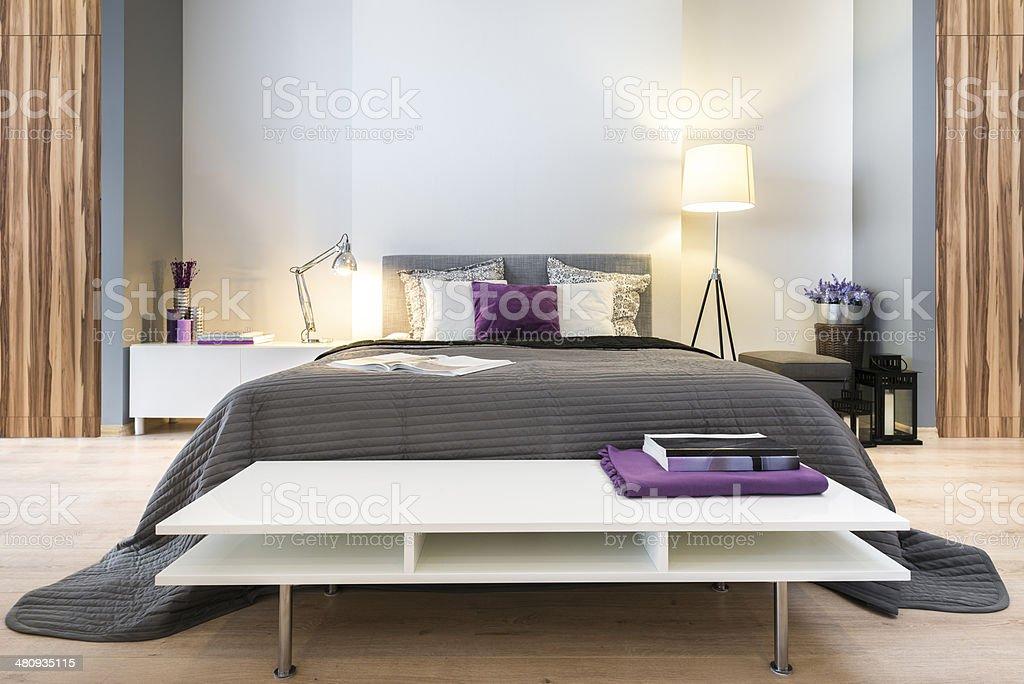 Modern stylish bedroom stock photo