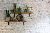 istock Modern stylish white brick wall with shelves and plants on them. 1270959278