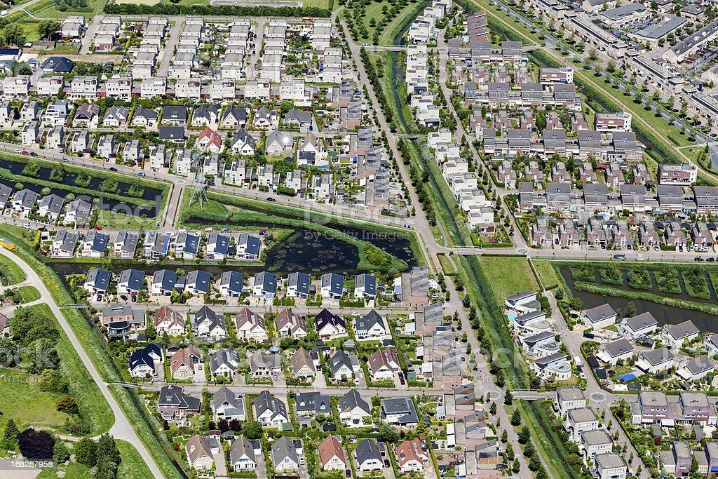 Modern suburb aerial view foto
