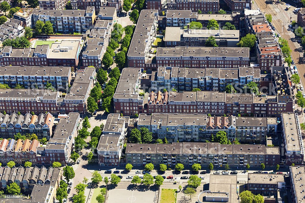 Modern suburb aerial view royalty-free stock photo