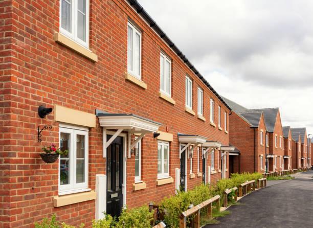 Modern suburban British housing development stock photo