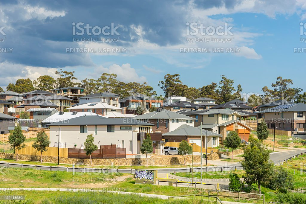 Modern suburban houses on the hill in Melbourne stock photo