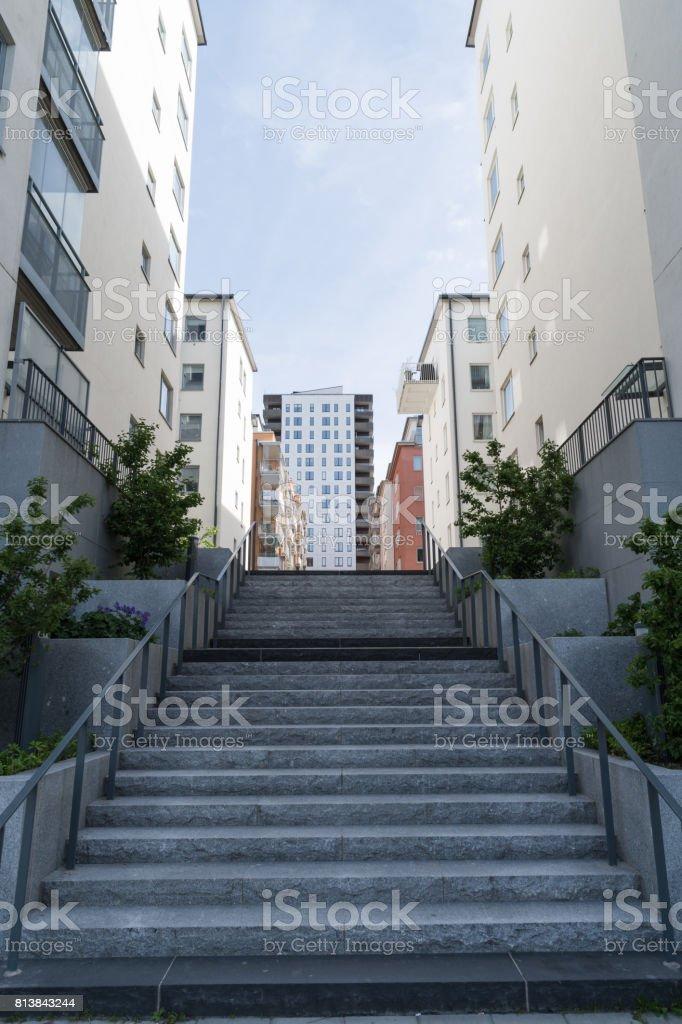 Modern suburban residential area stock photo