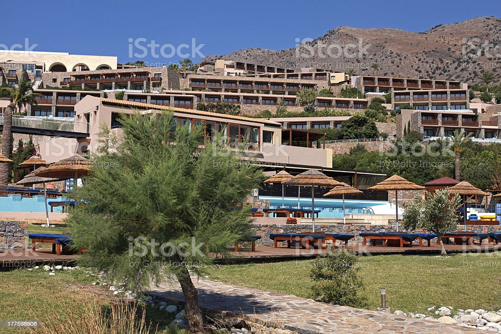 Modern summer resort villa with swimming pool(Crete, Greece). royalty-free stock photo