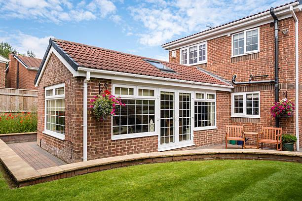 modern sunroom external - husutbyggnad bildbanksfoton och bilder