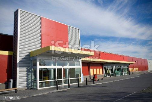 Entrance to modern supermarket/store.