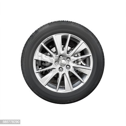 istock Modern suv car wheel, front view isolated 585778290