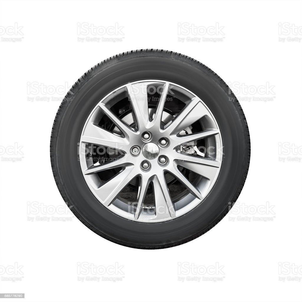 Modern suv car wheel, front view isolated stock photo