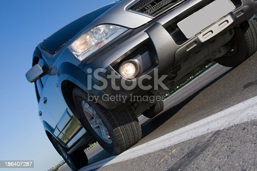 Modern SUV moving with motion blur