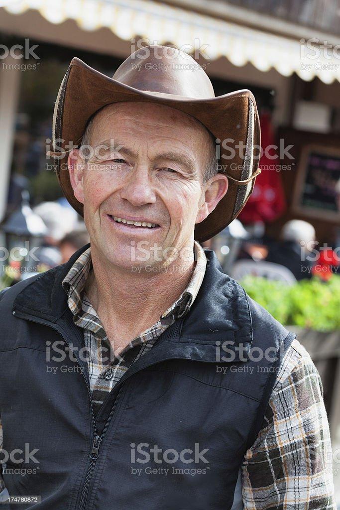 Modern Swiss Farmer smiling at the Aelplerfest in Lenk royalty-free stock photo