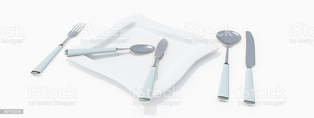 Modern table setting in white and blue royalty-free stock photo