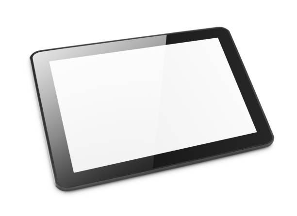 moderne tablet pc op wit - clipping path stockfoto's en -beelden