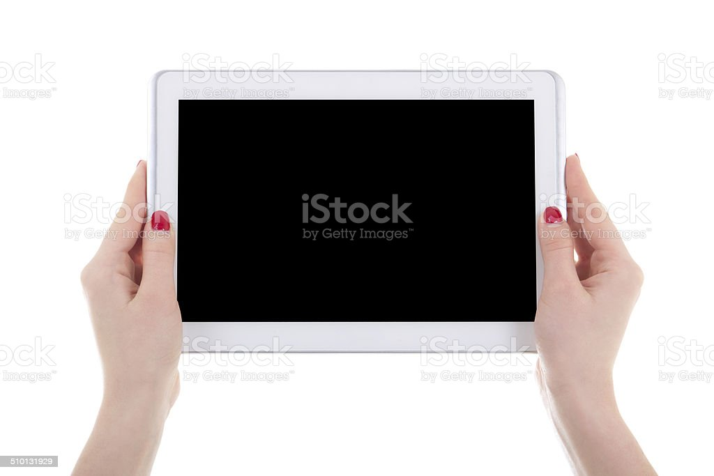 modern tablet pc with empty screen in female hands isolated royalty-free stock photo