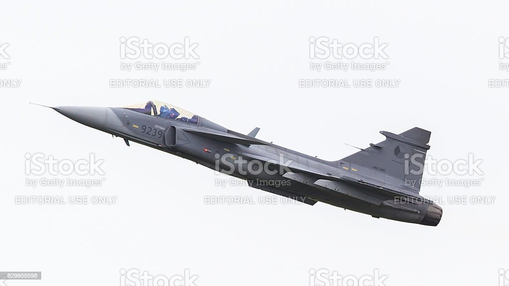 Modern tactical fighter jet in the sky stock photo