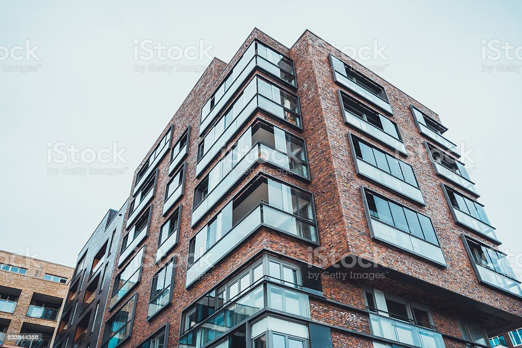 Amazing Modern Tall Brick Apartment Building Royalty Free Stock Photo
