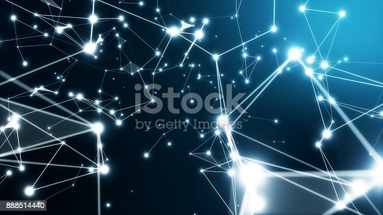 istock Modern technological rotary background with connections and nodes 3d illustration 888514440