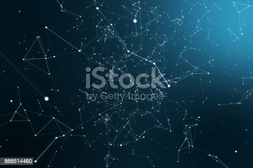 istock Modern technological rotary background with connections and nodes 3d illustration 888514460
