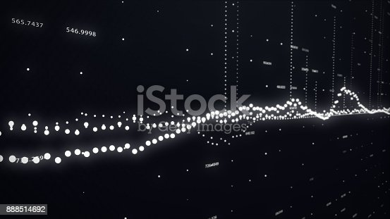 istock Modern technological rotary background with connections and nodes 3d illustration 888514692