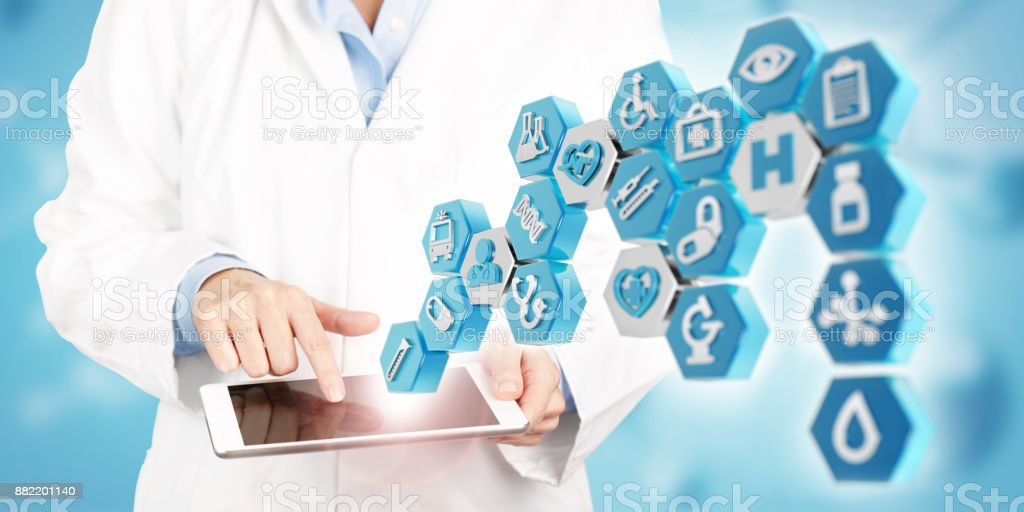 modern technology in healthcare and medical services stock photo