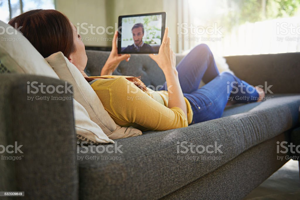 Modern technology makes long distance relationships work stock photo