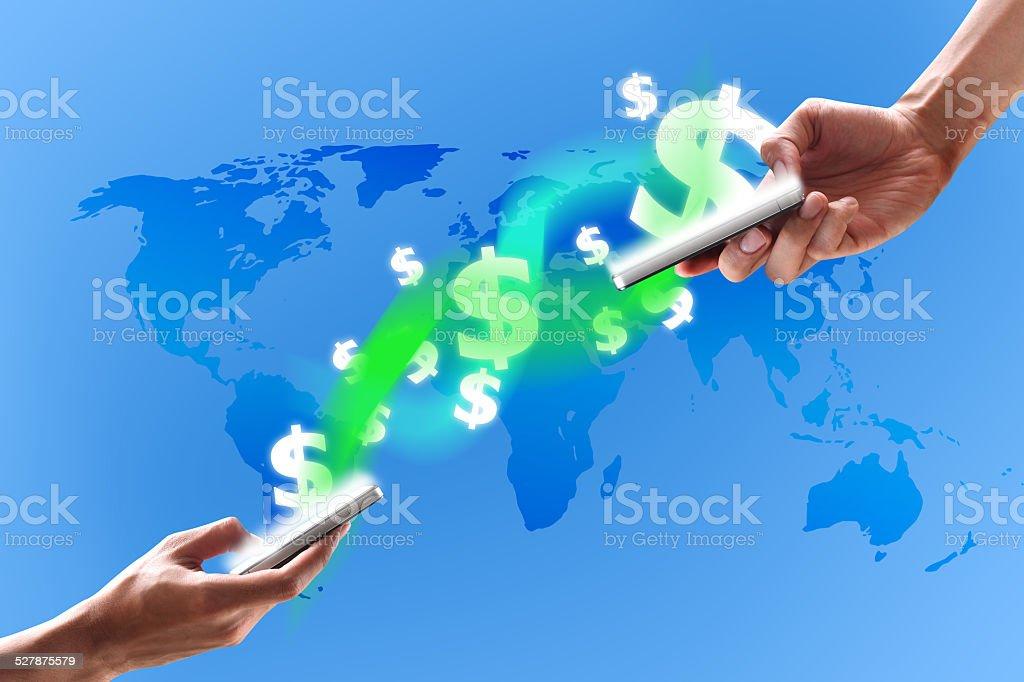 modern techonology on mobile stock photo