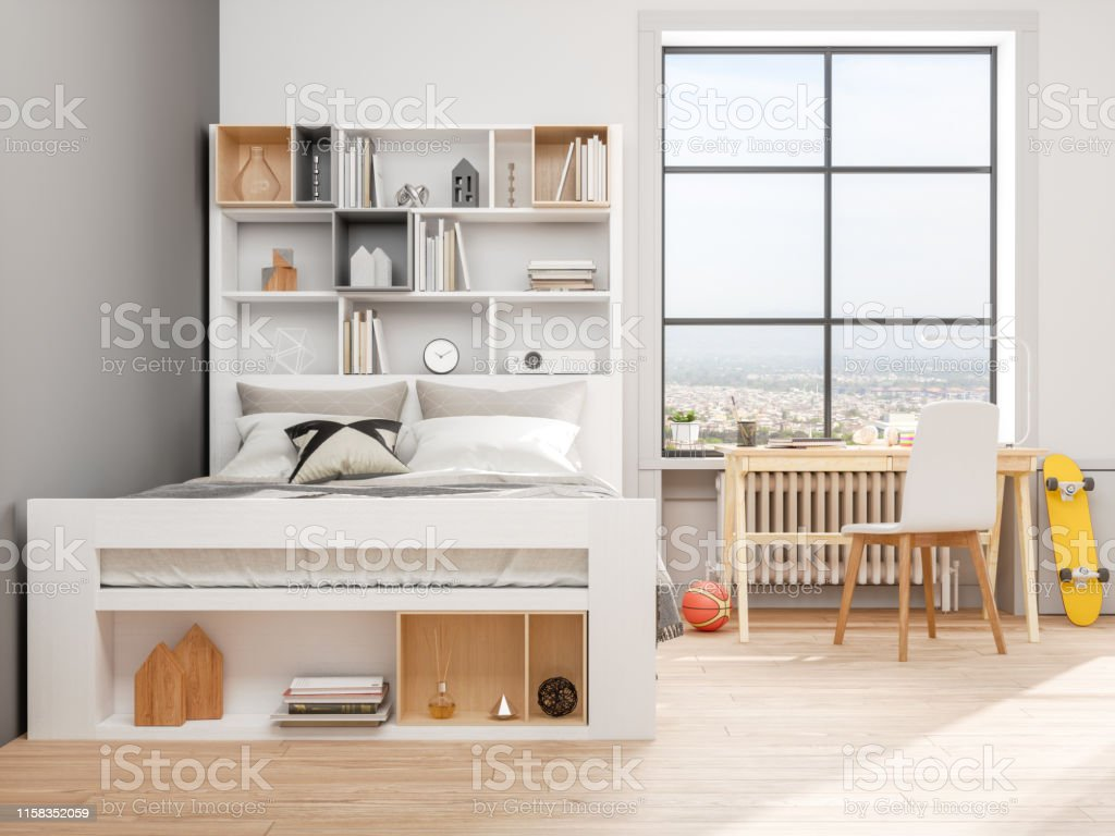 Modern Teen Bedroom Stock Photo - Download Image Now - iStock