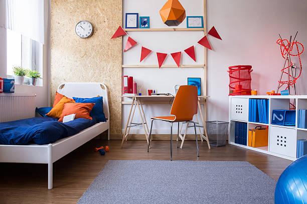 modern teen boy bedroom - yatak odası stok fotoğraflar ve resimler