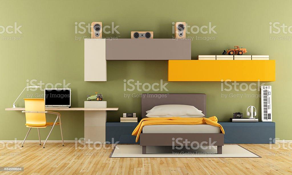 Modern Teenage Boy Bedroom Stock Photo - Download Image Now - iStock