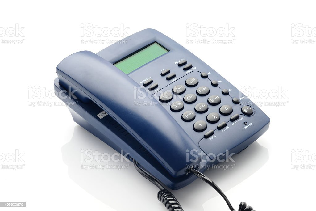 Modern Telephone with LCD panel in blue color. stock photo