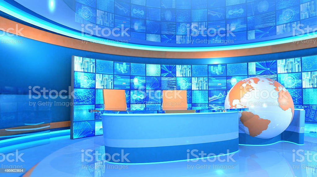 Modern television broadcasting studio with video wall and world map stock photo