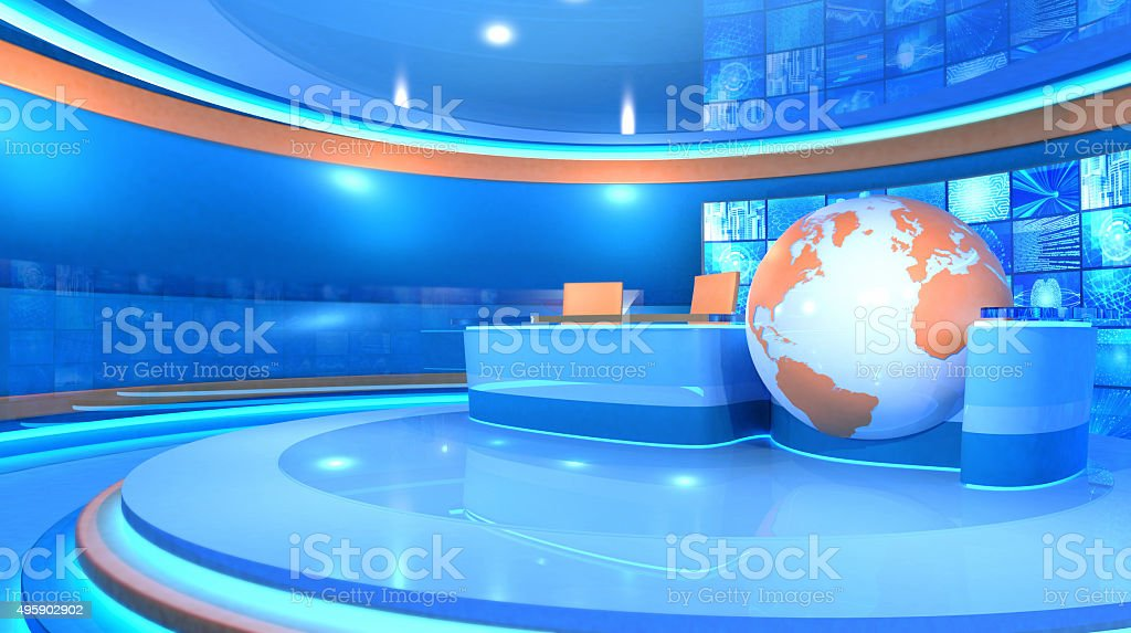 Modern television broadcasting virtual set and world map stock photo