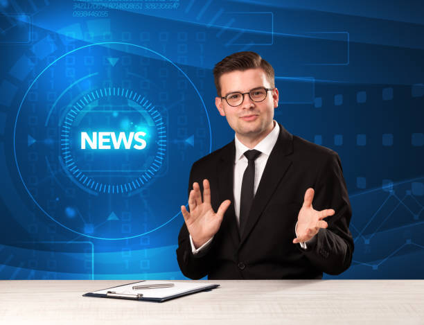 Modern televison presenter telling the news with tehnology background stock photo