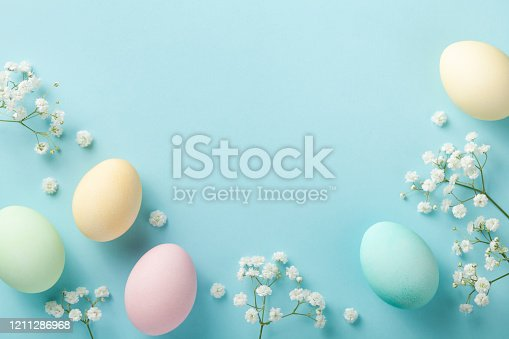 1138213028 istock photo Modern template from easter eggs on blue background top view. Flat lay style. 1211286968