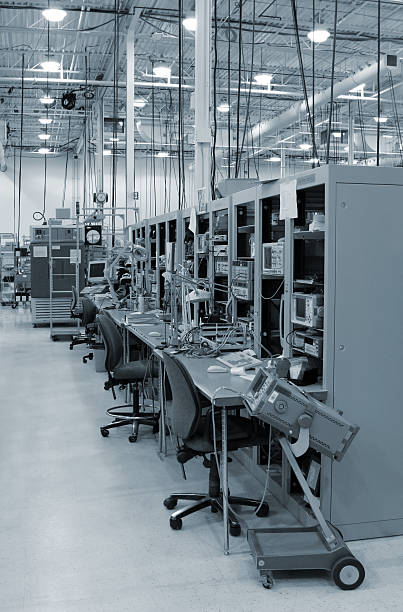 Modern Test Stations inside an Industrial Building stock photo