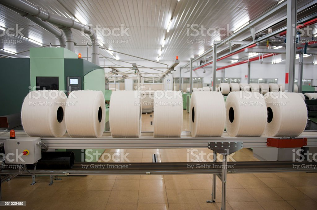Modern textile factory stock photo